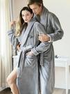 秋冬季加厚加長款睡袍女法蘭絨一對浴袍珊瑚絨加絨男青年睡衣 韓國時尚週