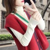慵懶風針織開衫背心女2019新款春裝寬鬆無袖毛衣馬甲短款上衣韓版