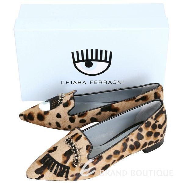 Chiara Ferragni Flirting 山羊皮眨眼眉環設計豹紋尖頭鞋 1630142-50
