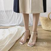 2018韓版新款粗跟高跟露趾透明簡約一字扣帶性感百搭中空涼鞋女夏-大小姐韓風館