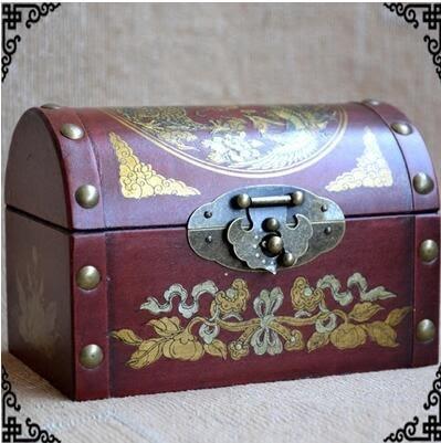 仿古懷舊首飾珠寶箱木質復古首飾收納盒結婚婚慶攝影裝飾裝潢擺件