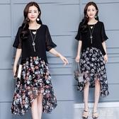 碎花洋裝 新款大碼女裝韓版流行溫柔仙女裙短袖雪紡連身裙 LF3633『黑色妹妹』