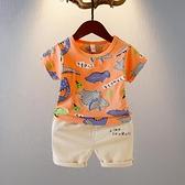 寶寶夏季休閒套裝新款男童夏天帥氣卡通短袖兩件套嬰幼兒夏裝 快速出貨