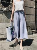 七分褲闊腿褲女夏雪紡高腰垂感2020新款寬鬆薄款七分八分小個子直筒褲子萊俐亞美麗