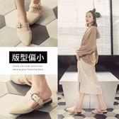 Ann'S氣質出眾-銀色圓扣絨質平底尖頭穆勒鞋-米