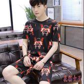 男士運動套裝夏季短袖T恤一套裝韓版潮流男裝搭配休閒帥氣短褲 QX14683【花貓女王】