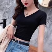 短T 黑色高腰露臍緊身V領短袖t恤女性感漏臍裝半袖時尚爵士舞短款體恤