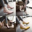 跟鞋 高跟鞋7cm新款絨面尖頭單鞋中跟百搭工作鞋粉色