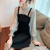 2021年春裝新款法式假兩件氣質吊帶洋裝女長袖網紗拼接小眾裙子 極簡雜貨