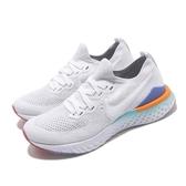 Nike 慢跑鞋 Wmns Epic React Flyknit 2 白 藍 女鞋 運動鞋 【PUMP306】 BQ8927-104