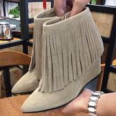 真皮短靴-尖頭坡跟時尚性感流蘇女靴子2色72a12【巴黎精品】
