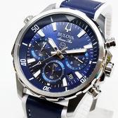 [萬年鐘錶]  BULOVA寶路華  100M防水 三眼 計時碼錶  藍錶面  橡膠+皮錶帶 男錶  43mm 96B287