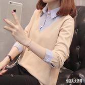 毛衣馬甲套頭女2019新款寬鬆長袖上衣針織假兩件套襯衫領 qw1983『俏美人大尺碼』
