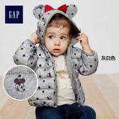 Gap x Disney女嬰幼童 迪士尼系列米妮保暖輕盈長袖鋪棉夾克 350958-灰白色