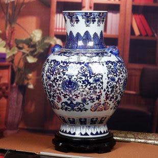 景德鎮陶瓷器 描金 藍牡丹青花瓷大花瓶