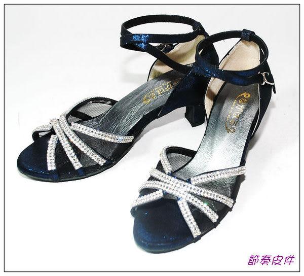 ~節奏皮件~☆國標舞鞋~~拉丁鞋款舞鞋 編號 4154 (深藍亮)