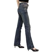 牛仔褲--不再當哭泣小腹人!雙釦寬褲頭細長腿刷黃中腰小喇叭牛仔褲(S-7L)-N35眼圈熊中大尺碼◎