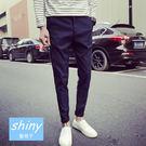 【Y022】shiny藍格子-休閒帥氣.純色日系修身免燙小腳哈倫長褲