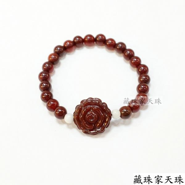 《藏珠家天珠》玫瑰+十字金剛杵紅玉髓天珠手鍊