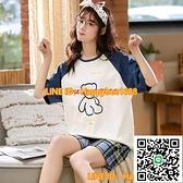 女生睡衣女春夏季棉質短袖短褲薄款可愛韓版可外穿家居服兩件套裝【happybee】