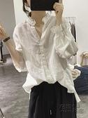 亞麻襯衫女春新款木耳邊減齡寬松顯瘦燈籠袖小清新套頭九分袖上衣 衣櫥秘密
