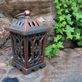 歐式複古鑄鐵四角宮廷燭台/香薰燭台鐵藝蠟燭台庭院家居裝飾擺件