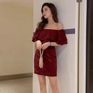 抹胸洋裝 夏天禮服裙子小個子穿氣質露肩抹胸性感收腰顯瘦一字肩連身裙-Ballet朵朵