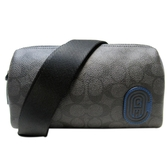COACH 寇馳 黑色PVC材質拼藍色牛皮斜背相機包 【二手名牌BRAND OFF】