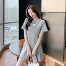 VK精品服飾 韓系個性貼標鏈條T恤修身收腰針織短袖洋裝