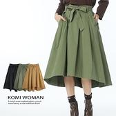 【南紡購物中心】KOMI-厚棉蝴蝶結綁帶鬆緊長裙‧三色