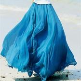 春夏新款高腰A字雪紡半身裙廣場舞裙長裙百褶沙灘大擺裙仙女裙子「時尚彩紅屋」