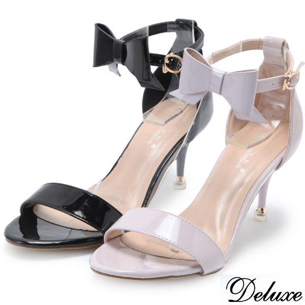 【Deluxe】優雅綁帶蝴蝶結露趾低跟鞋(黑★紫)