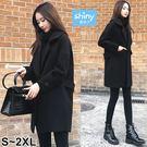 【V2635】shiny藍格子-好感冬搭.保暖顯瘦中長版毛呢大衣外套