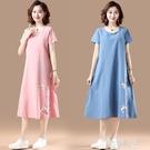亞麻洋裝 夏季新款復古民族風旗袍棉麻印花中長款短袖連身裙女 韓菲兒