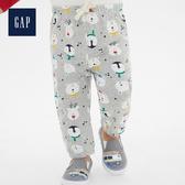 Gap男嬰兒耶誕節風格印花鬆緊腰休閒褲513977-淺麻灰
