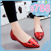 任選2雙788包鞋韓版包鞋熟女風氣質百搭尖頭皮飾金屬光感低跟鞋【02S7197】