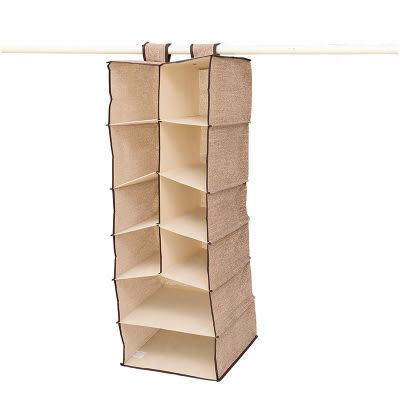【全館5折】WaBao 簡約亞麻色多層衣櫥收納掛袋 (抽屜小號) =D09273-4=