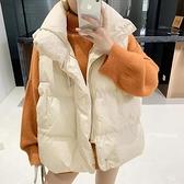 羽絨馬甲 2021秋冬韓國簡約外穿羽絨棉馬甲女短款無袖棉外套加厚背心面包服 薇薇