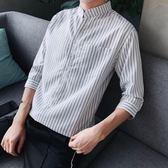 夏季七分短袖襯衫男士韓版韓版潮流衣服學生豎條紋中袖帥氣修身寸襯衣 【限時八五折】