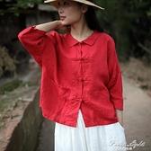 棉麻復古文藝女裝襯衫 果果新品
