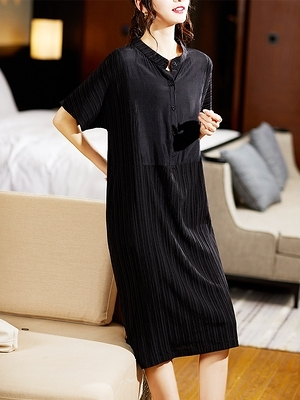 L-5XL胖妹妹大碼洋裝連身裙~褶皺拼接立領短袖連身裙女NB11G胖妹大碼女裝