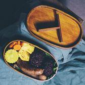 單層木質日式飯盒便當盒分隔便攜學生帶蓋水果壽司野餐盒