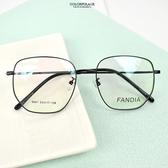 配眼鏡 不規則寬版金屬框NYA79