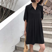 洋裝.9210襯衫領黑色短袖連身裙女夏季氣質顯瘦A字長裙子ZLE202-A依佳衣