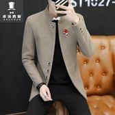 秋季男士立領中長款西服韓版修身上衣青年小西裝中山裝毛呢外套潮