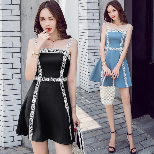 絕版出清 韓國風水溶蕾絲撞色氣質收身顯瘦無袖洋裝