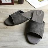 台灣製造-風格系列-麂皮紋皮質室內拖鞋-灰