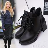 短靴女單靴繫帶高跟馬丁靴女圓頭粗跟女靴韓版靴子 伊鞋本鋪