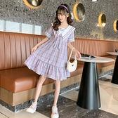 女童洋裝 女童連身裙夏裝2021新款洋氣兒童裙子中大童女孩夏季學院風公主裙【快速出貨】