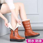 小碼女鞋   雪靴2018冬季新款內增高拉鏈加絨加厚保暖棉鞋大碼 33-42